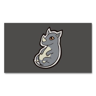 Cute Baby Gray Rhino Big Eyes Ink Drawing Design Magnetic Business Card
