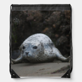 Cute Baby Harbor Seal crawling across Beach Drawstring Bag