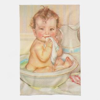 Cute Baby Having a Bath Kitchen Towel