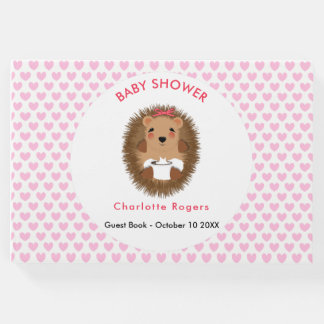 Cute Baby Hedgehog On Pink Love Heart Personalized Guest Book