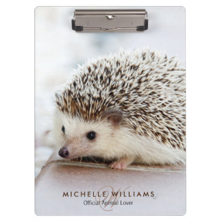 Cute baby hedgehog portrait animal lover clipboard