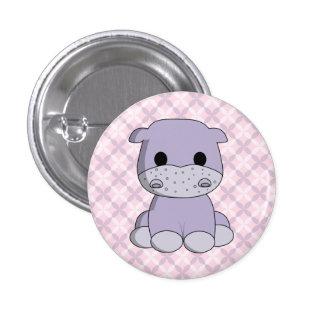 Cute baby hippo cartoon kids button