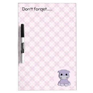 Cute baby hippo cartoon kids dry-erase board