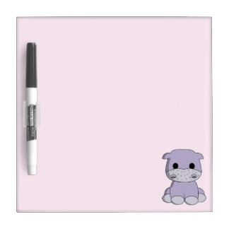 Cute baby hippo cartoon kids dry erase whiteboard