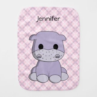 Cute baby hippo cartoon name baby baby burp cloths