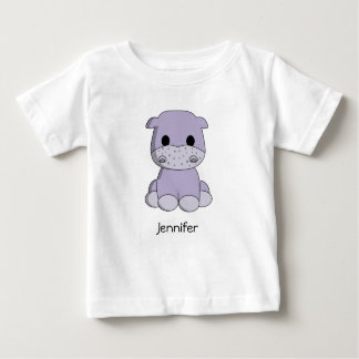 Cute baby hippo cartoon name baby shirt