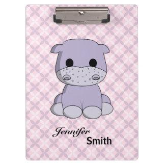 Cute baby hippo cartoon name girls clip board clipboards