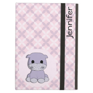 Cute baby hippo cartoon name kids ipad case