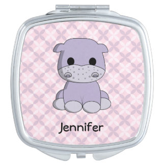 Cute baby hippo cartoon name mirror compact mirror