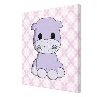 Cute baby hippo cartoon nursery canvas
