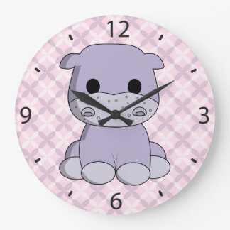 Cute baby hippo cartoon nursery clock