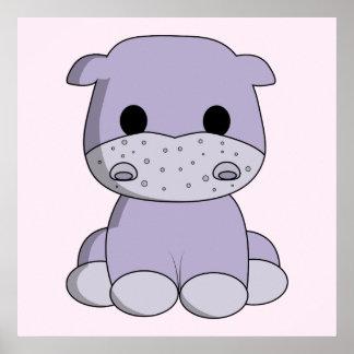 Cute baby hippo cartoon nursery poster