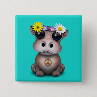 Cute Baby Hippo Hippie 2 Inch Square Button