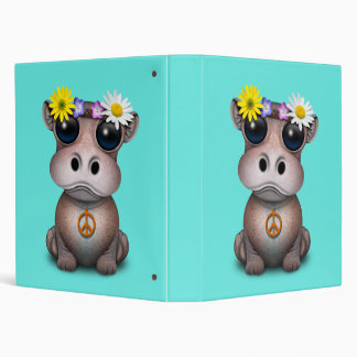 Cute Baby Hippo Hippie 3 Ring Binder