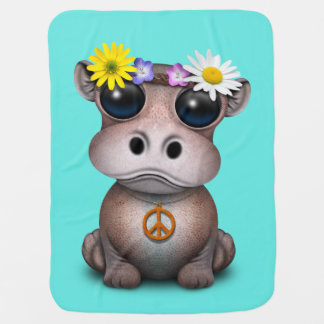 Cute Baby Hippo Hippie Baby Blanket
