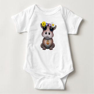 Cute Baby Hippo Hippie Baby Bodysuit