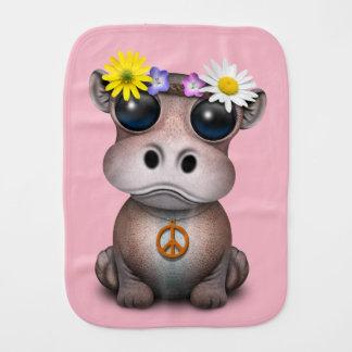 Cute Baby Hippo Hippie Burp Cloth