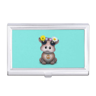 Cute Baby Hippo Hippie Business Card Holder