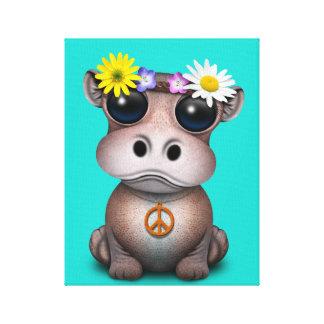 Cute Baby Hippo Hippie Canvas Print