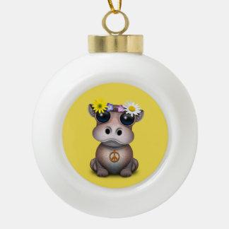 Cute Baby Hippo Hippie Ceramic Ball Christmas Ornament