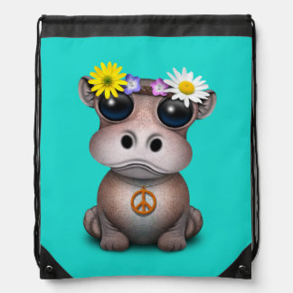 Cute Baby Hippo Hippie Drawstring Bag