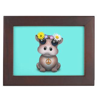 Cute Baby Hippo Hippie Keepsake Box