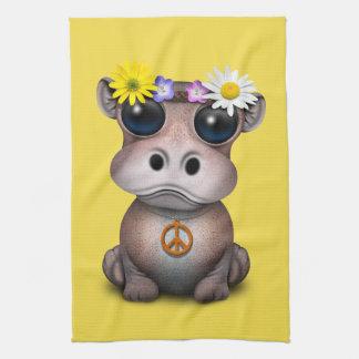 Cute Baby Hippo Hippie Kitchen Towel