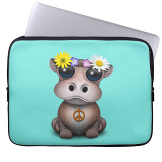 Cute Baby Hippo Hippie Laptop Sleeve