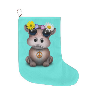 Cute Baby Hippo Hippie Large Christmas Stocking