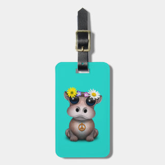 Cute Baby Hippo Hippie Luggage Tag