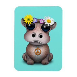Cute Baby Hippo Hippie Magnet