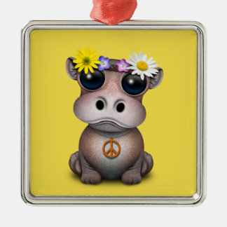 Cute Baby Hippo Hippie Metal Ornament