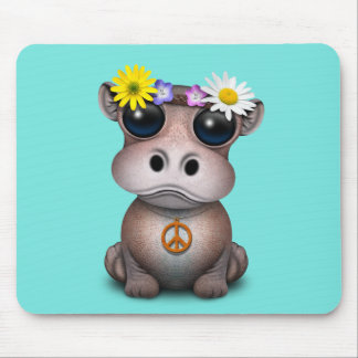 Cute Baby Hippo Hippie Mouse Pad