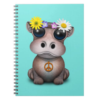 Cute Baby Hippo Hippie Notebooks