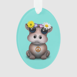 Cute Baby Hippo Hippie Ornament