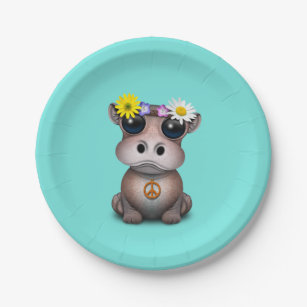 Cute Baby Hippo Hippie Paper Plate : paper plate hippo - pezcame.com