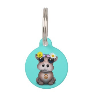 Cute Baby Hippo Hippie Pet Name Tag