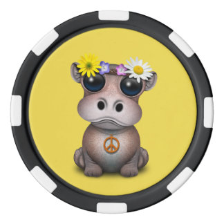 Cute Baby Hippo Hippie Poker Chips