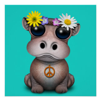 Cute Baby Hippo Hippie Poster