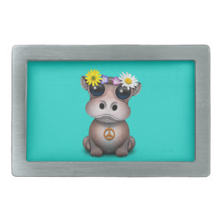 Cute Baby Hippo Hippie Rectangular Belt Buckle