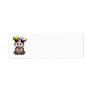 Cute Baby Hippo Hippie Return Address Label