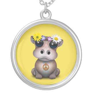 Cute Baby Hippo Hippie Silver Plated Necklace