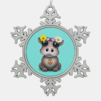 Cute Baby Hippo Hippie Snowflake Pewter Christmas Ornament