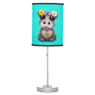 Cute Baby Hippo Hippie Table Lamp
