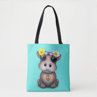 Cute Baby Hippo Hippie Tote Bag