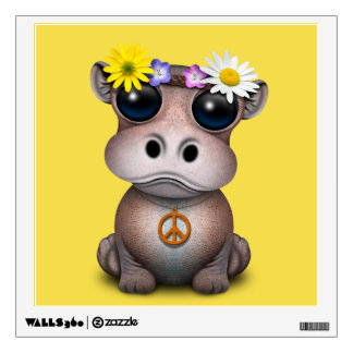 Cute Baby Hippo Hippie Wall Sticker