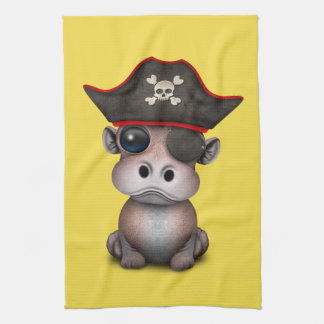 Cute Baby Hippo Pirate Kitchen Towel