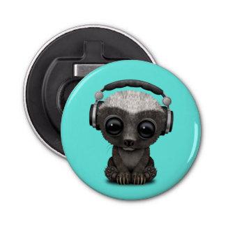 Cute Baby Honey Badger Dj Wearing Headphones Bottle Opener