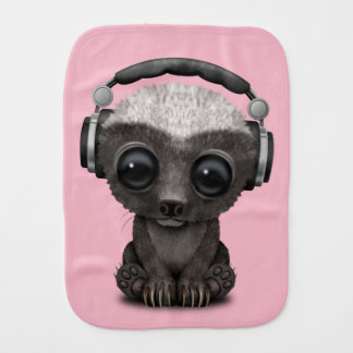 Cute Baby Honey Badger Dj Wearing Headphones Burp Cloth