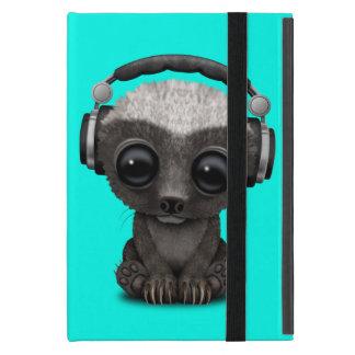Cute Baby Honey Badger Dj Wearing Headphones Case For iPad Mini